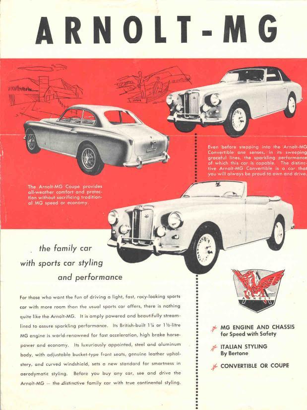 Publicité d'époque pour la Arnolt MG Source : coachbuild.com