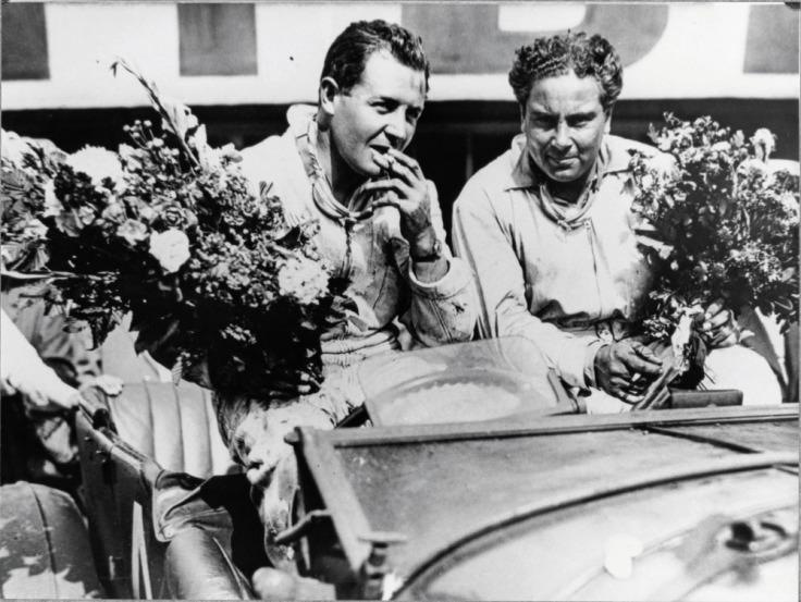 Woolf Barnato (à droite) lors de sa victoire au Mans en 1930 Source : rrec.de