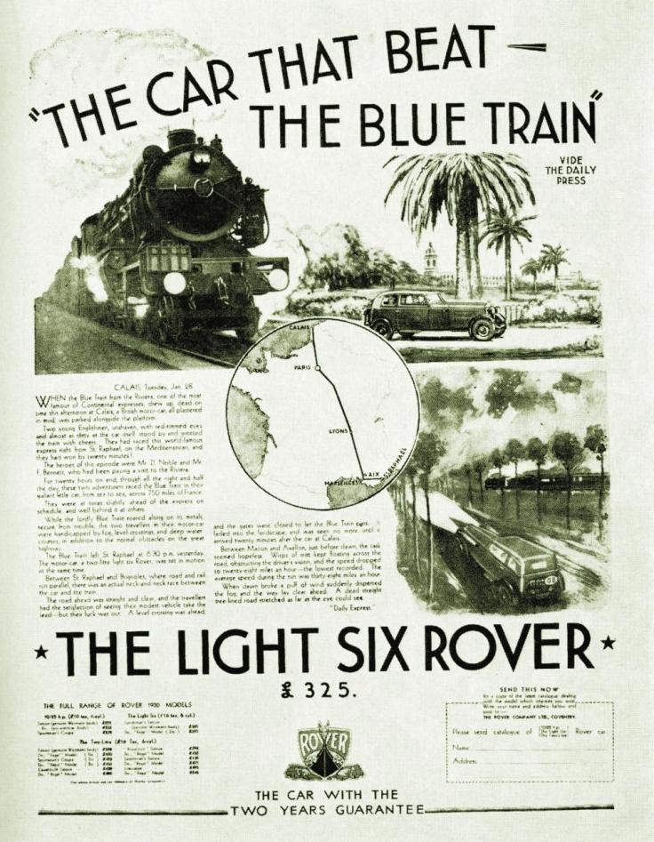 Publicité vantant la victoire de la Rover Light Six contre le Train Bleu en 1930 Source : http://matsam.livejournal.com