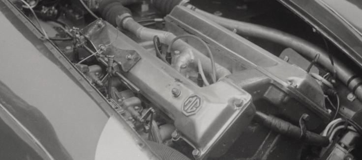 Le tout nouveau moteur TwinCam de la MG EX-182 Source : Collection George Phillips