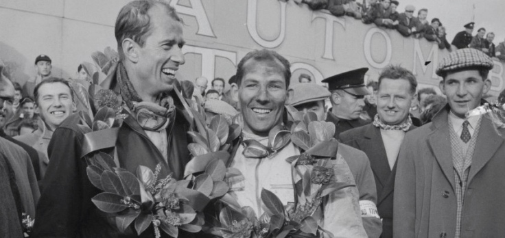 John Fitch et Stirling Moss couronnés Source : Collection George Phillips