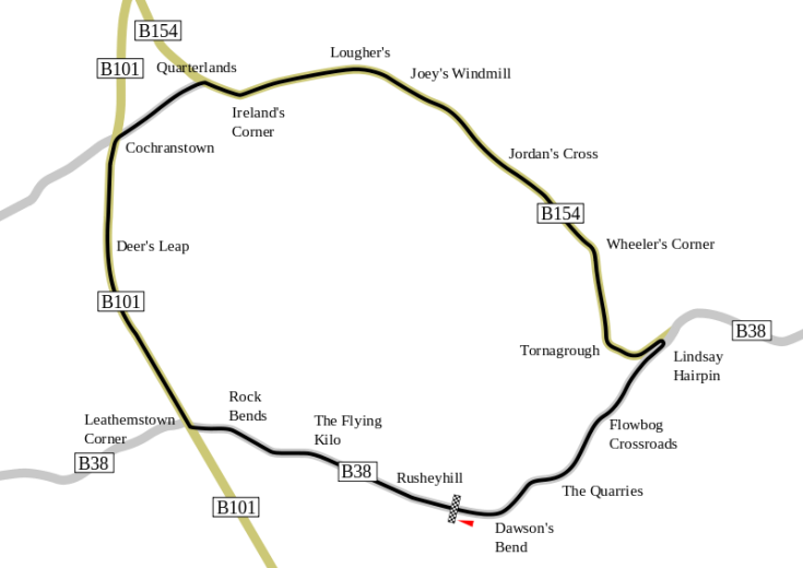 Le tracé du circuit de Dunrod Source : Wikipedia