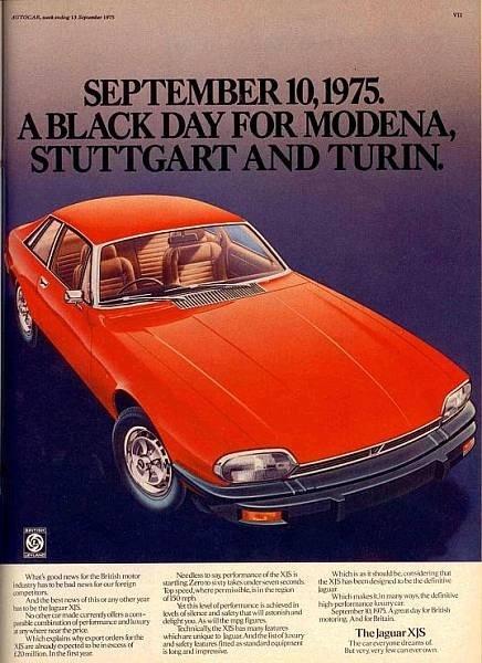 Publicités pour le lancement de la Jaguar XJ-S