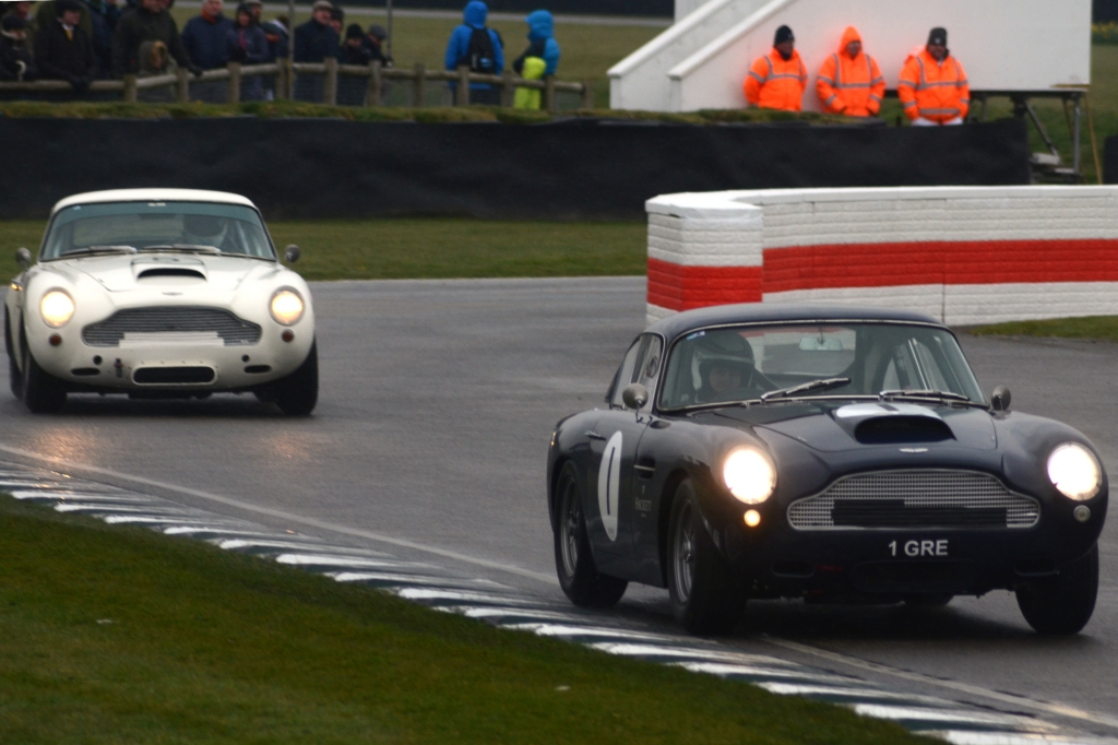 Aston Martin DB4GTs out in the weather